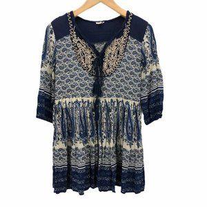 En Creme Womens Peasant Blouse Blue 3/4 Sleeve S